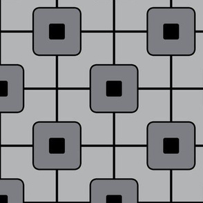 Mid century grid cube/ Modern Geometric - Black/Grey