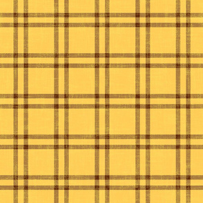 chocolate plaid on egg yolk with linen texture