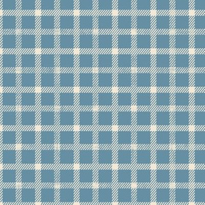 simple plaid small scale in teal on linen