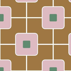 Mid Century Grid Cube/ Brown and Mauve