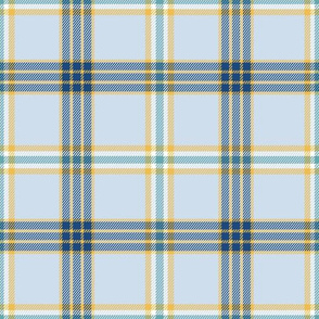 contrast plaid in navy and yellow