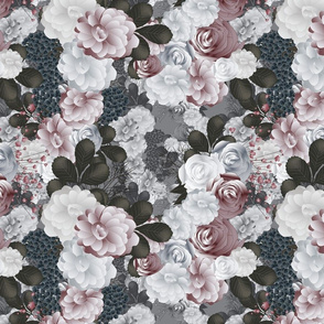 winter floral in silver gray