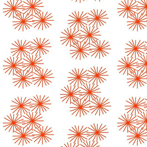 Mid Century Dandilion Stars! #4 orange on white, chevrons