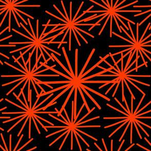 Mid Century Abstract Starbursts! Orange on black - large