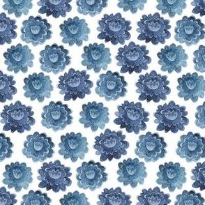 Delft Blue Watercolor Flowers