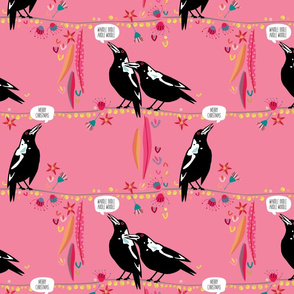 Australian Magpie Christmas pink by Mount Vic and Me