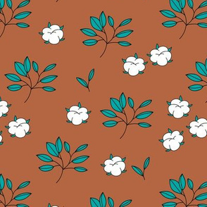 Lush autumn delicate garden leaves and cotton balls flowers botanical print teal rust copper brown