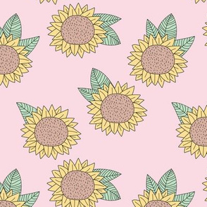 Sweet sunflower and leaves botanical autumn winter garden soft nursery baby pastel pink mint