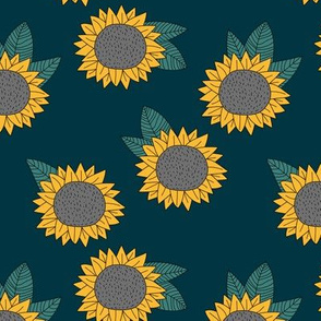 Sweet sunflower and leaves botanical autumn winter garden soft nursery baby navy blue yellow