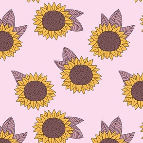 Sweet sunflower and leaves botanical autumn winter garden soft nursery baby pastel pink mauve