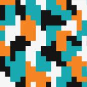 Color blocking pixel shapes teal orange Fabric