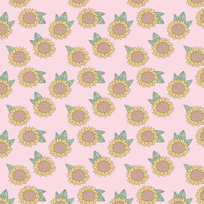 Sweet sunflower and leaves botanical autumn winter garden soft nursery baby pastel pink mint SMALL