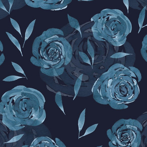 Icy Blue Watercolor Roses