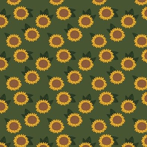 Sweet sunflower and leaves botanical autumn winter garden soft neutral olive green yellow SMALL