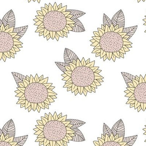 Sweet sunflower and leaves botanical autumn winter garden soft pastel white neutral