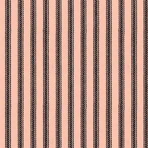 Peach & Black Ticking Stripes  - Mimosa Collection