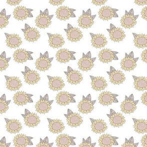 Sweet sunflower and leaves botanical autumn winter garden soft pastel white neutral SMALL