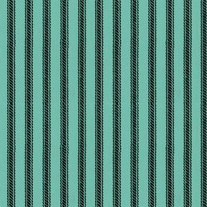 Spearmint & Black Ticking Stripes  - Mimosa Collection