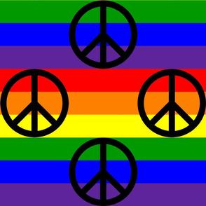 Six Inch Black Peace Signs on Horizontal Rainbow Stripes