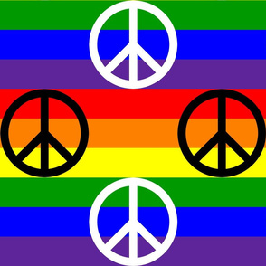 Six Inch Black and White Peace Signs on Horizontal Rainbow Stripes