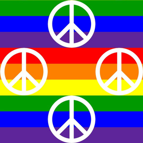 Six Inch White Peace Signs on Horizontal Rainbow Stripes