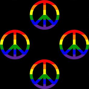 6 Inch Horizontal Rainbow Stripes Peace Signs on Black