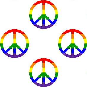 6 Inch Horizontal Rainbow Stripes Peace Signs on White