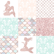Glitter Mermaid Quilt - rose gold - pink, aqua, peach