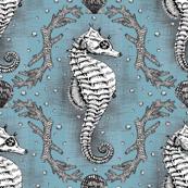 Seahorse Damask - Powder Blue