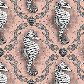 Seahorse Damask - Seashell  Pink