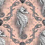 Seahorse Damask - Salmon Pink