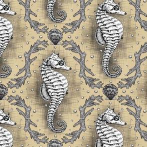 Seahorse Damask - Sandy Tan
