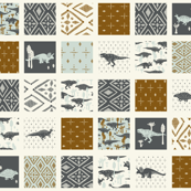 Dinosaur Cheater Quilt - Geometric, Light Blue, Slate, Cream, Copper