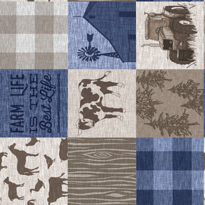 Cow Farm Quilt - soft brown and navy blue - Rot
