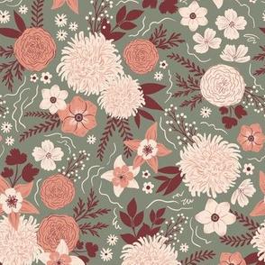 Chrysanthemum floral sage  & maroon - small