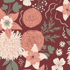 Chrysanthemum floral maroon & peach - large