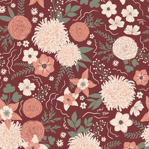 Chrysanthemum floral maroon & peach - small