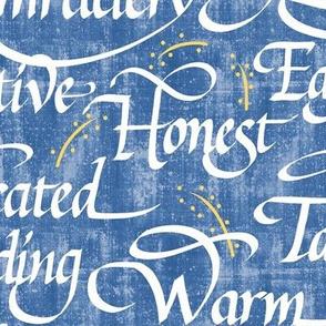 Words of Friendship   Medium Blue Faux Texture