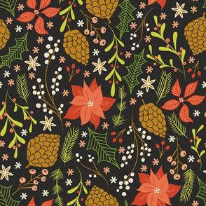 Christmas Florals on Black