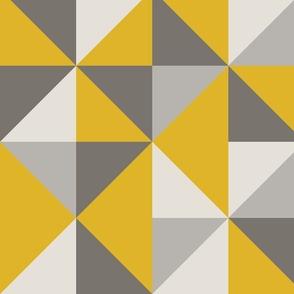 Mustard Yellow + Gray Retro Triangles