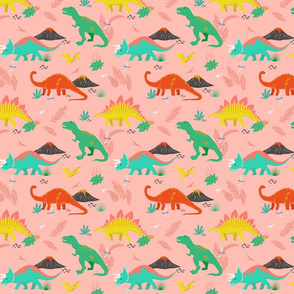 Jurassic Dinosaurs on Pink - Small