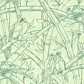 Tropical bird bamboo-soft mint