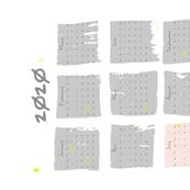 tea towel - batik block calendar - grey-blush-neon
