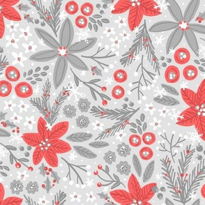 Festive Floral (Silver and Red_