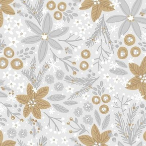 Festive Floral (Silver and Gold)