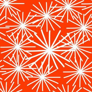 Mid Century Starburst Chic! White on burnt orange