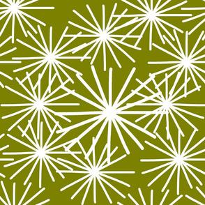 Mid Century Starburst Chic! White on olive green