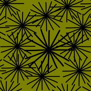 Mid Century Starburst Chic! Black on olive green