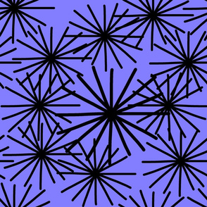 Mid Century Starburst Chic! Black on amethyst purple