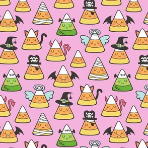 Candy Corn Halloween Fall Doodle on Magenta Pink Smaller Tiny 1,5 Inch